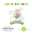 Baby Shower or Arrival Card - Baby Cat on a Bike vector image