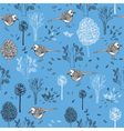 Vintage seamless pattern with birds vector image