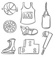 sport equipment hand draw style doodle vector image