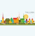 tallinn skyline with color buildings and blue sky vector image