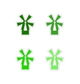 Set of paper stickers on white background mill vector image