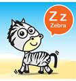 Z Zebra color artoon and alphabet for children to vector image