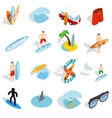 Surfing isons set isometric 3d style vector image