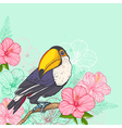 Pink tropical flowers and toucan vector image