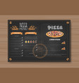 beer and pizza menu design for restaurant cafe pub vector image
