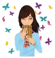 Girl with a pans flute surrounded by butterflies vector image