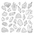 minerals crystals gems isolated black and white vector image