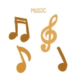 Set of Hand-drawn gold music notes on white vector image