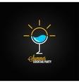 summer cocktail glass design background vector image