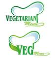 vegetarian and veg symbol menu vector image