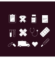 Set of 12 cartoon-style medical icons white on vector image