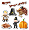 Thanksgiving sticker set vector image vector image