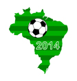 Soccer map and flag of Brazil vector image