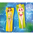Girls in pool vector image