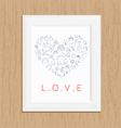 love icon photo frame on wood vector image