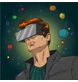 pop art of young man in 3d vector image