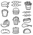 Doodle of food set collection stock vector image