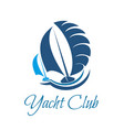 yacht club symbol for sailing sport and yachting vector image vector image