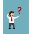 Cartoon man holding a question mark vector image vector image
