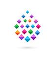 Water drop mosaic crystal logo icon vector image