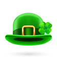 Green bowler hat decorated with clover vector image