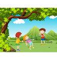 Children playing music bar in the park vector image
