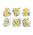 floral word spring vector image