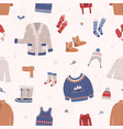 seamless pattern with winter clothes and outerwear vector image