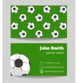 Soccer green field business card template vector image