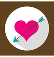 Valentine heart flat icon with long shadow vector image