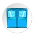 Double door for restaurant icon cartoon style vector image