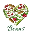 Heart of beans and nuts poster vector image