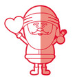 red silhouette of santa claus with open arms and vector image