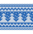 Knitted seamless pattern with fir-trees blue vector image vector image