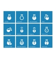 Laboratory glass icons on blue background vector image