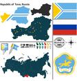 Map of Republic of Tuva vector image