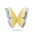 Yellow butterfly cut out of paper vector image