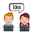 boy and girl studying online isolated icon design vector image