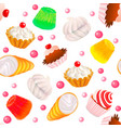 background seamless with fruit cakes marshmallow vector image