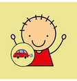 cartoon boy happy car toy vector image