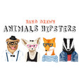 hand drawn animals hipsters set vector image vector image