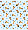 seamless pattern with cute golden cartoon fish vector image