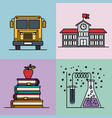 multicolored sections background with set college vector image