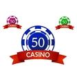 Casino chip emblem vector image vector image