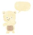 cartoon waving polar bear with speech bubble vector image