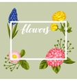 Invitation card with garden flowers Decorative vector image