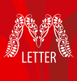 Logo letter M with a vegetative ornament on a red vector image