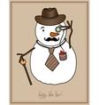 original hipster snowman in a hat tie mustache vector image