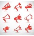 Set of megaphone loudspeaker isolated symbolsl and vector image