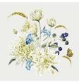 Vintage Floral Card with Chrysanthemums vector image